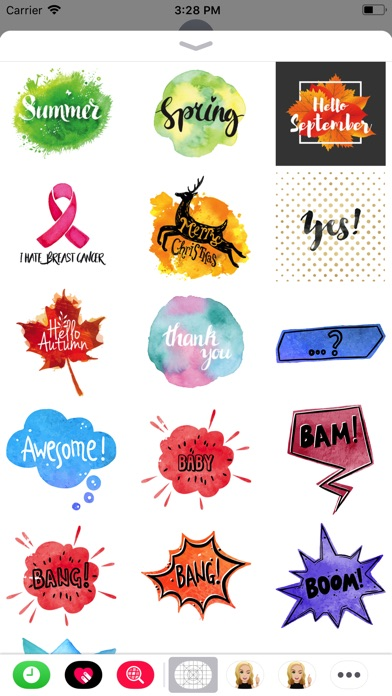 Watercolor Text Emoji Stickers review screenshots