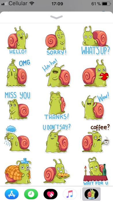 Funny Snail Stickers review screenshots