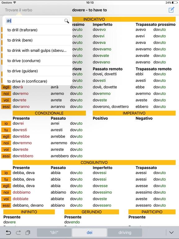 Verbi italiani hd la tavola di coniugazione sull 39 app store - Tavola dei verbi inglesi ...