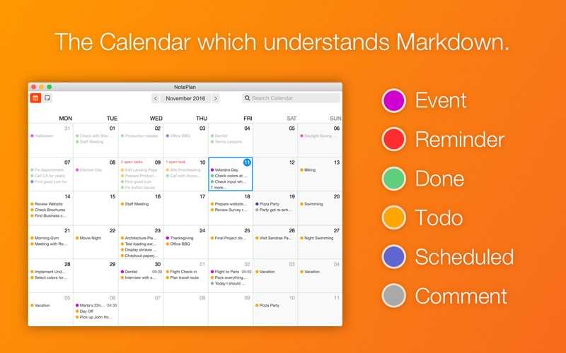 NotePlan: Markdown Calendar Screenshots