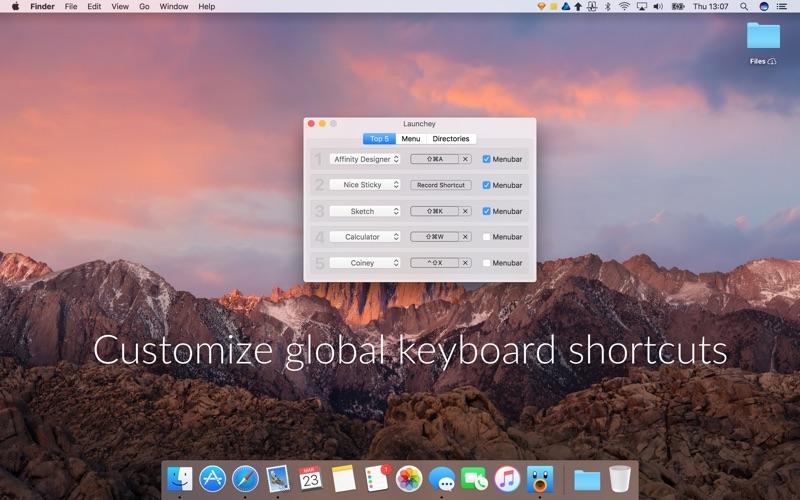 Launchey - a menu bar app launcher Screenshots