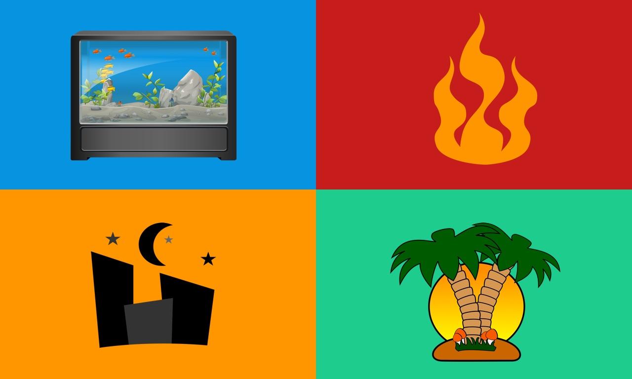 Aquarium, Fireplace & Nature
