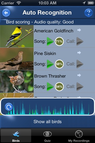 Bird Song Id USA Automatic Recognition Birds Songs screenshot 1