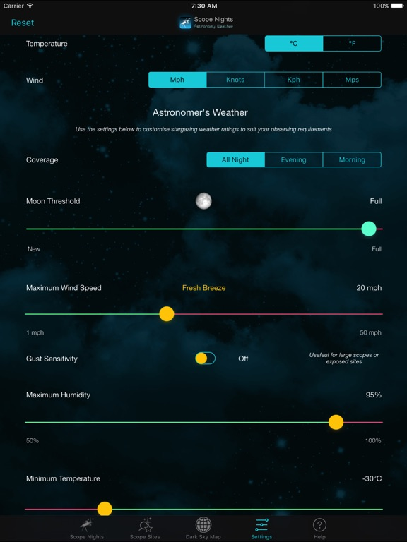 Scope Nights Astronomy Weather Screenshots