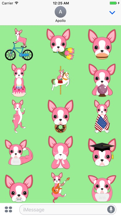 Screenshot of Giorno Boston Terrier Emoji adesivi di San Valenti1