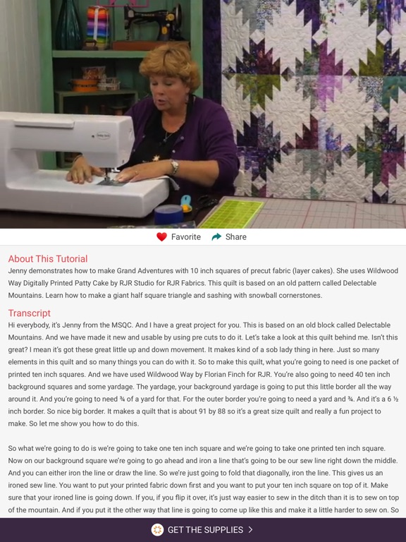Screenshots of Quilting Tutorials by MSQC for iPad