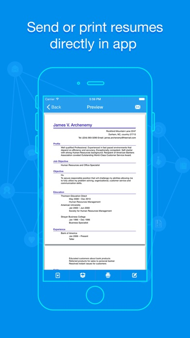 iphone screenshot 2 - Resume App
