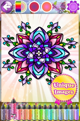 Flowers Coloring Pages for Adults Mandala Red Rose screenshot 2