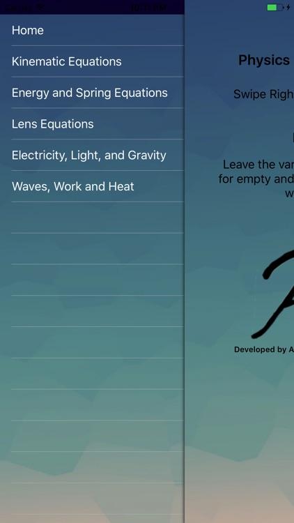 Physics Equations Calculator by Venkat Ramamoorthy