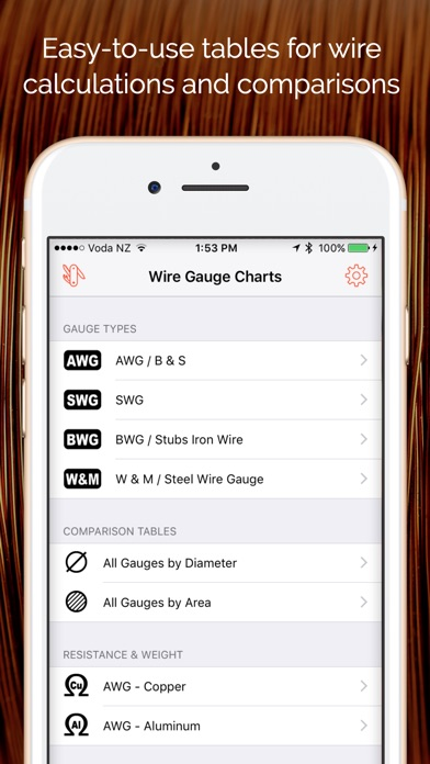 Wire gauge charts size tables for awg swg bwg app price drops screenshot 6 for wire gauge charts size tables for awg swg bwg greentooth Choice Image