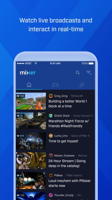 Screenshots of Mixer – Interactive Live Streaming for iPhone