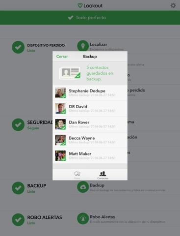 Lookout - Seguridad, backup, dispositivo perdido Screenshot