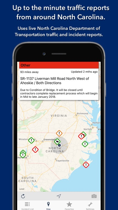 Screenshot for North Carolina Roads Traffic in Denmark App Store