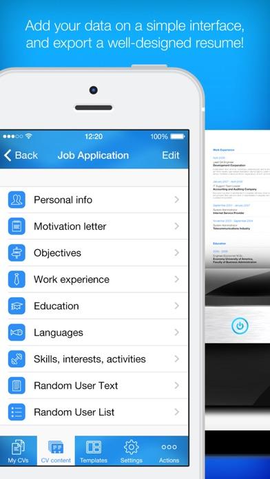 iphone screenshot 3 - Resume Maker App
