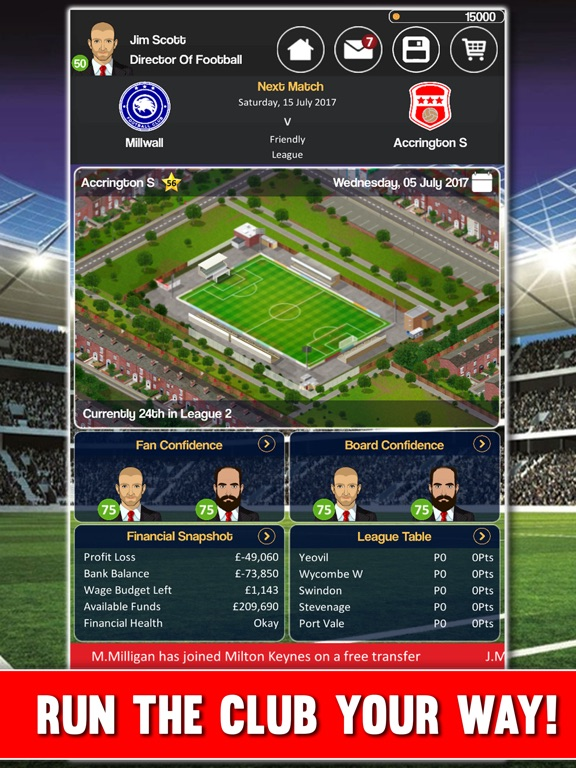 Club Soccer Director 2018 Screenshots