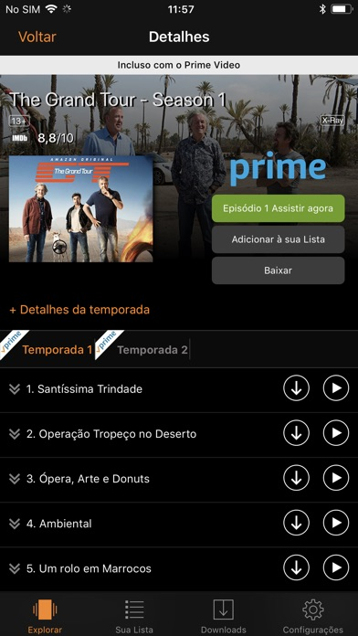 Screenshot do app Amazon Prime Video