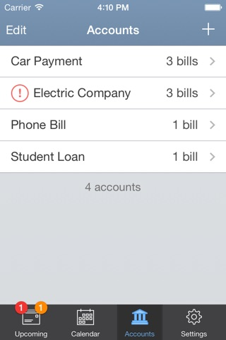 BillTracker for iPhone screenshot 3