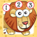 儿童2-5岁博弈的大草原的动物:学会数数1-10的幼儿园,学前班或幼儿园与狮子,大象,鳄鱼,河马,斑马,猴子和鹦鹉在丛林,野生动物园或沙漠