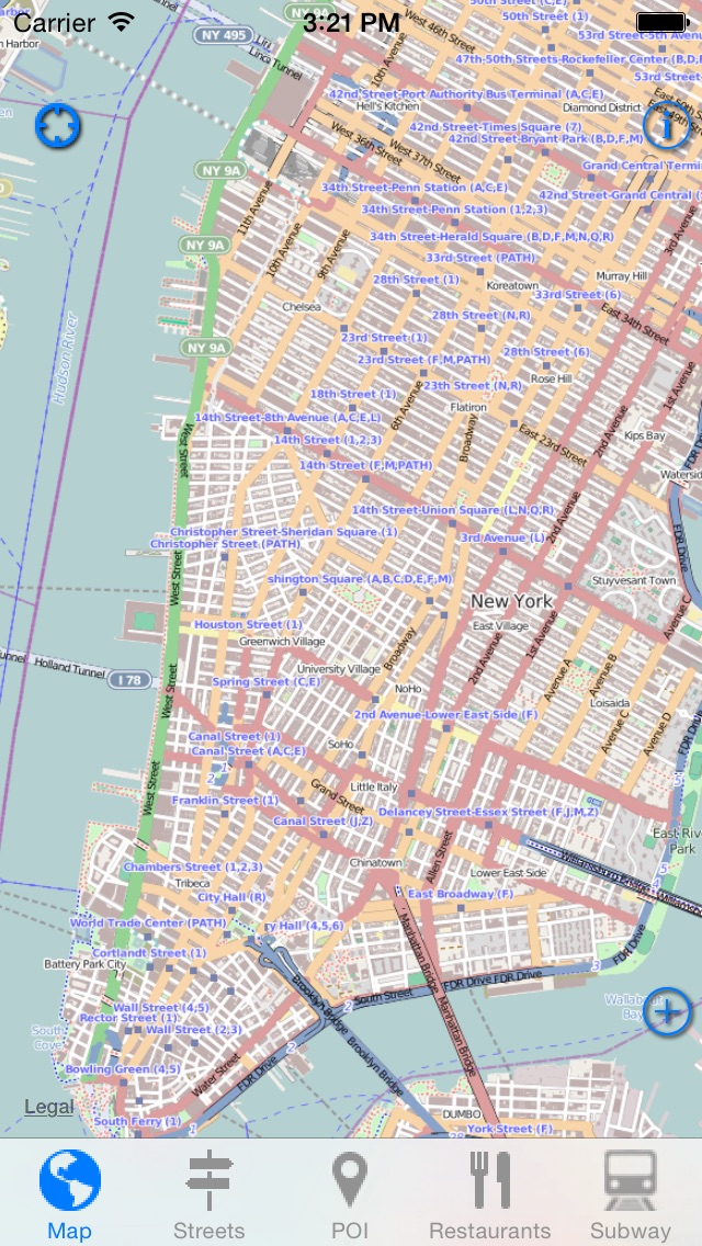 New York Offline Map - Address, Subway & Restaurant Finder Screenshot 1