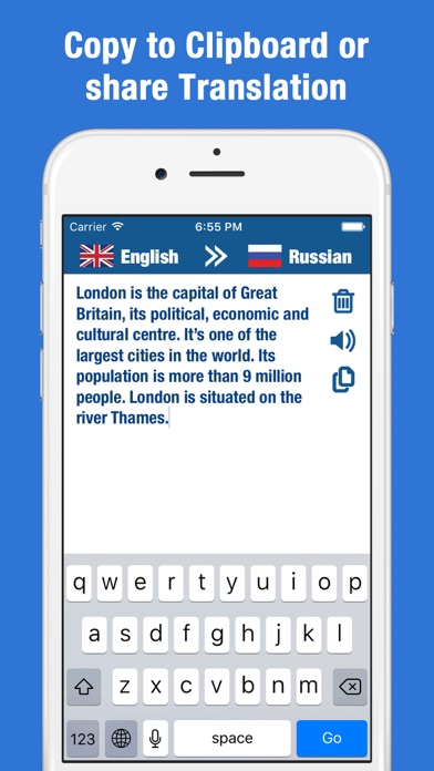 Russian to English Translator and Dictionary Screenshot on iOS