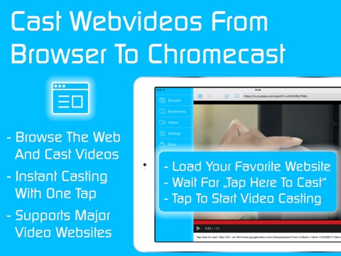 Screenshots of Video & TV Cast for Chromecast: Best Browser to cast and stream webvideos and local videos on TV & Displays for iPad