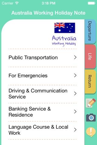 Australia Working Holiday Note screenshot 2