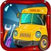 School Bus Wash & Garage – Little Car Salon, Summer Fun with Vehicle Spa Workshop for Paint, Vinyl, Colors, Soap, Clean Automobile Shop