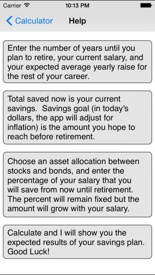 IPhone Screenshot 4. IPad Screenshot 1. IPad Screenshot 2. Retirement  Savings Calculator Lite
