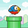 Tiny Blue Bird Flappy Wings:Jump-y Close Green Pipes
