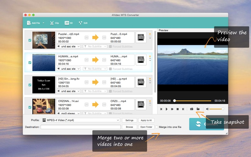4Video MTS Converter - To MP4/MOV/AVI for Mac