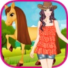 Cute Girl and Horse - Kids Game kathy ireland bedding