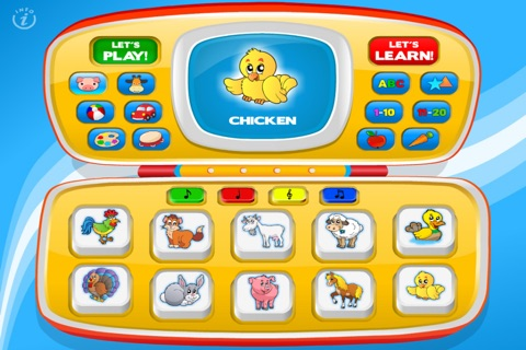 Magic Laptop Preschool All-In-One • Activity Kids Learning Toy Phone - TeachMe Farm and Zoo Animals, Colors, Shapes, Letters, Numbers, Vehicles, Alphabet, Toys, Fruits - Games for Baby, Toddler and Preschool Children by Abby Monkey® screenshot 1