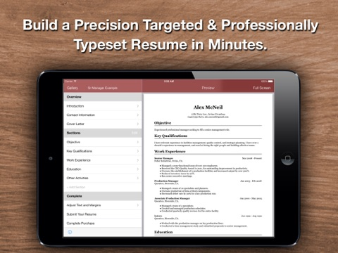 Screenshots of Resume Star: Pro CV Maker and Resume Designer with PDF Output to Help You Score that Job Interview and Advance your Career for iPad