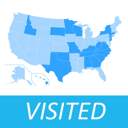 Visited States Map USA Travel Log For Where Youve Been App - Us and mexican states map visited map