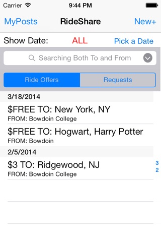 Bowdoin College RideShare screenshot 1