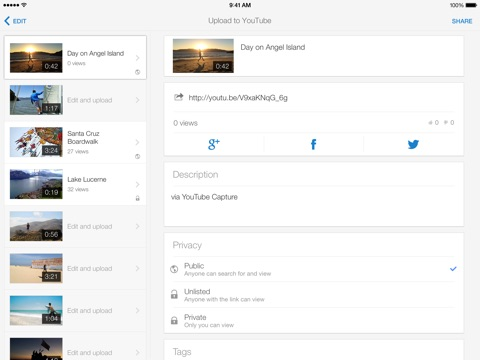 Screenshots of YouTube Capture for iPad