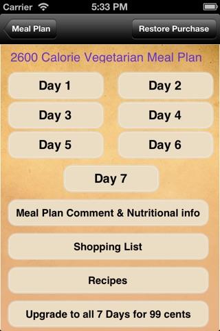 Meal Plans - Vegetarian 7 Day Meal Plans screenshot 2
