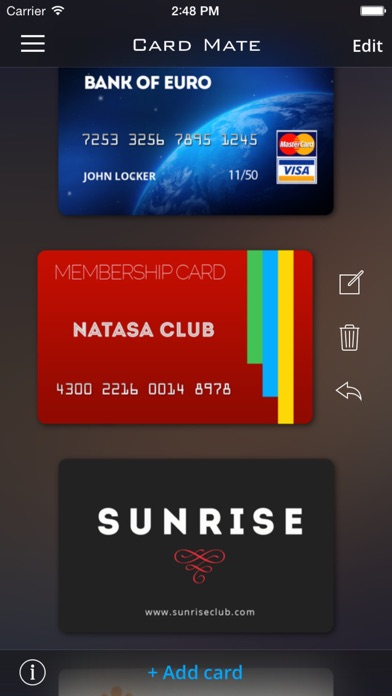 Card Mate Pro- credit cards Screenshots
