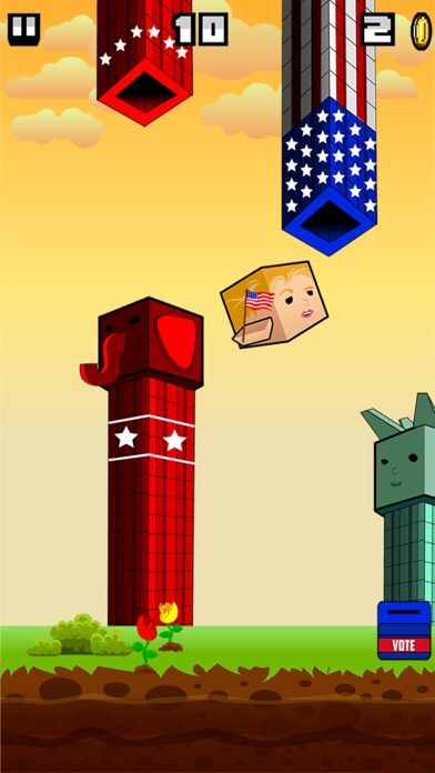 Screenshot of Flappy Donald Trump vs. Hillary Election Run – Face Off Flyer President4