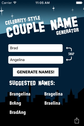 Counagen - Celebrity-Style Couple Name Generator screenshot 2