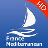 France GPS Méditerranée cartes nautiques HD, routes, traces et distance pour la navigation de plaisance croisière, pêche, plaisance voile et la plongée