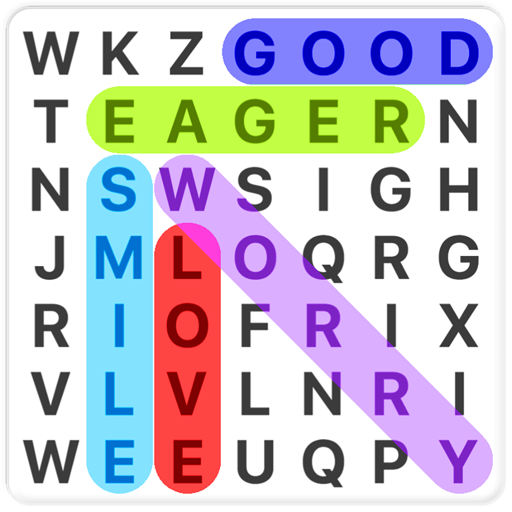 Word Search in english - Find letters and create words with this fun puzzle game