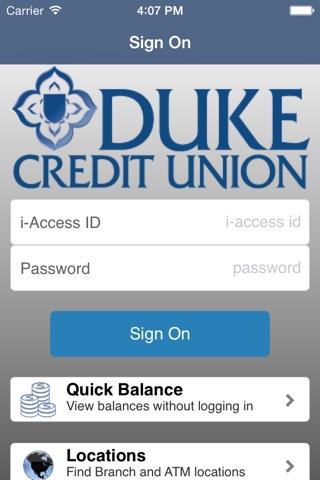 Duke Credit Union i-Mobile screenshot 1