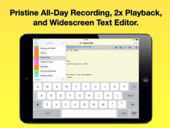 Audio Notebook: Sound Recorder, Notepad, Organizer Screenshots