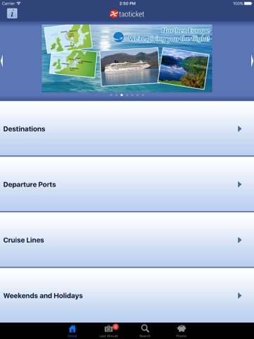 Taoticket iPad - Cruise Finder of Vacation Cruises & Last Minute screenshot 1
