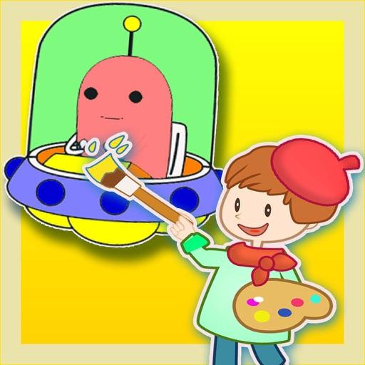 Libri da colorare per i bambini - Paint & Doodle per rendere il Spaceship e Robot colorato