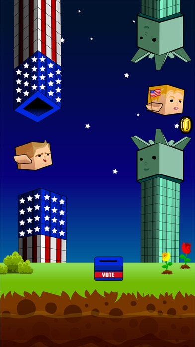 Screenshot of Flappy Donald Trump vs. Hillary Election Run – Face Off Flyer President3