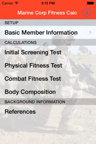 Marine Corps Fitness Calc screenshot 1