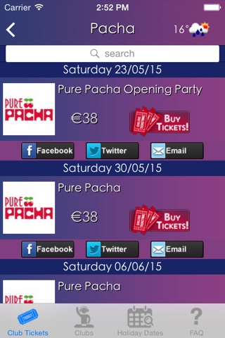 Club Tickets screenshot 3
