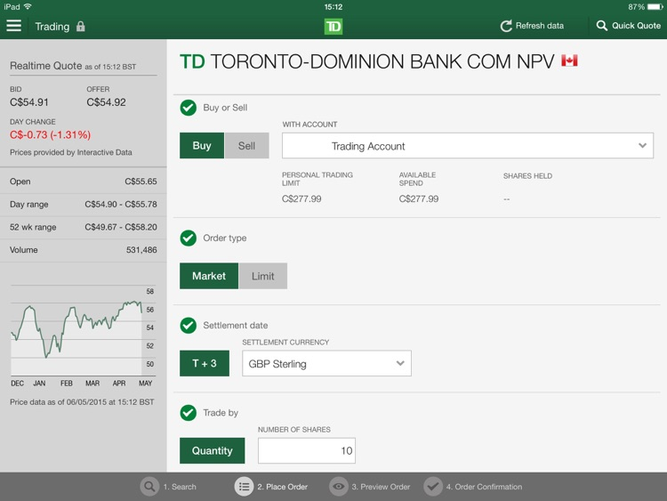 TD Direct Investing for iPad by TD Direct Investing